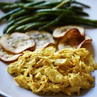Aji de Gallina (Peruvian chicken recipe) with Yuca and Grilled Long Beans