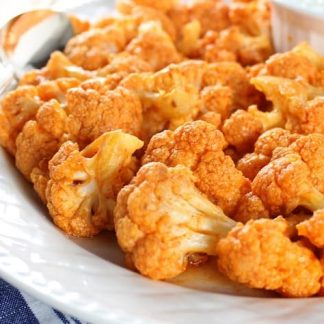 Buffalo Cauliflower with Sweet Potato Fries