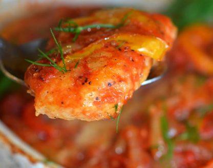 Mahi Mahi Casserole with Stir Fried Veggies